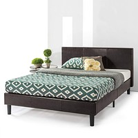 Best Price Mattress Queen Bed Frame - Agra Upholstered Faux Leather Platform Beds with Headboard and Wooden Slats (No Box Spring Needed), Queen Size