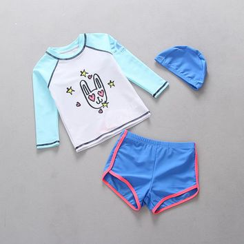 Blue Girls Swimwear Separates Two Pieces Rash Guards Kids Cartoon Bunny Long Sleeve Sun Protection Children Swimsuits for Girl