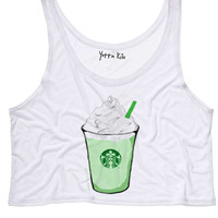 Green Tea Latte Crop Tank Top