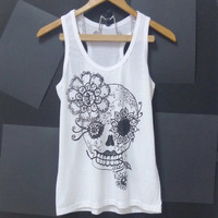 Sale Vintage flower skull tank top ,sugar skull, WHITE gothic,skeleton top Women shirt, teen singlet size S,M,L singlet t shirt blouse