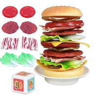 Simulation Kids Pretend Play Kitchen Food Toys Plastic Stacking Hamburger Balance Toys