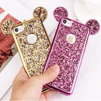 Luxury 3D Mickey Mouse Case for iPhone 6 6S 7 Plus 5 5S 5SE Rhinestone Glitter Bling Silicone Case Coque For iPhone 7 Plus Cover