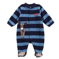 Baby Boy One-pieces Baby Polar Fleece long sleeve Bodysuit Set Wapiti Blue