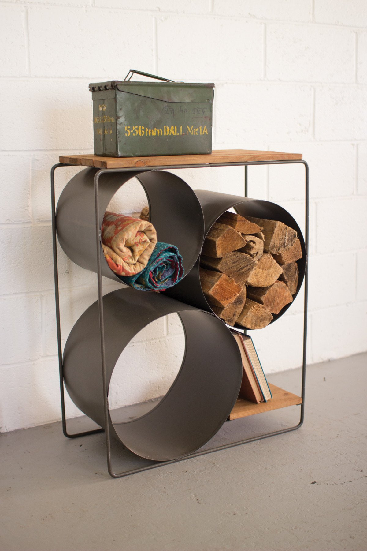 Image of Kalalou Honey Wood & Raw Metal Shelf with Round Compartments CQ7050