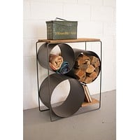 Kalalou Honey Wood & Raw Metal Shelf with Round Compartments CQ7050