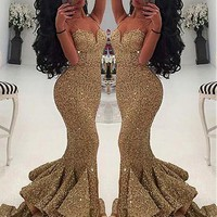 [144.99] Sparkling Sequin Lace Sweetheart Neckline Mermaid Evening Dresses With Ruffles - dressilyme.com