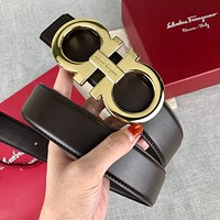 Ferragamo business casual smooth leather belt horseshoe steel buckle belts for men and women