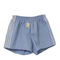 Made in USA 80's Vintage Shorts: 80s -Made in USA- Unisex light blue background cotton polyester twill with white polyester applied triple side stripes, New-Old elastic waist sport shorts with no pockets, deadstock with original tag