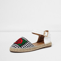 Girls white gingham espadrille sandals