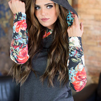 Rustic Gardens Hooded Tunic Charcoal