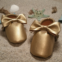 faux leather Dark Gold Bow