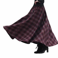 New Fashion 50s Vintage Retro Wool Maxi Skirt Pleated Plaid Autumn Winter Skirt Women Saias Longa