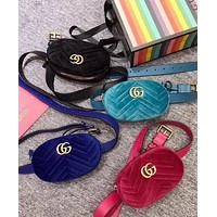 Gucci Fashion Women Velvet Purse Waist Bag Single-Shoulder Bag Pockets Bag (4-Color)