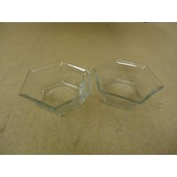 Designer Pair of Bowls Planters 6in W x 6in D x 2 1/2in H Clear Hexagon Glass -- Used