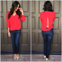 Double Pocket Blouse in Red