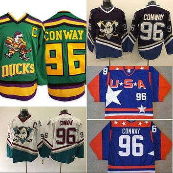 Mighty Ducks Anaheim Movie Jersey #96 Charlie Conway White Purple Green Men's 100% Stitched Embroidery Logos Hockey Jerseys S-3XL