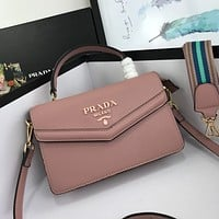 prada women leather shoulder bags satchel tote bag handbag shopping leather tote 5