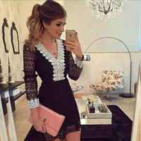 Hollow Out Long Sleeves Lace Little Black Party Dress