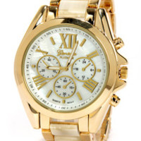 Clock In Gold and Beige Watch