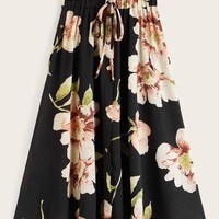 Plus Floral Print Drawstring Waist Skirt