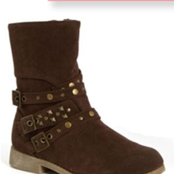 Simply Petals Buckle Brown Boots for Girls NEW-3048-BRN