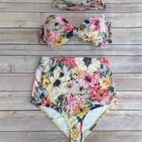 Bow Bandeau Bikini - Vintage Style High Waisted Pin-up Swimwear -  Beautiful Sunflower Floral Print - Unique & So Cute!