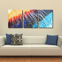 Original Large XL Abstract Art Painting Triptych Rainbow Storm Acrylic on Canvas 48x20