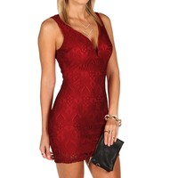 Red Lace Plunging Dress