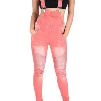 Women's Moto Denim Twill Overalls