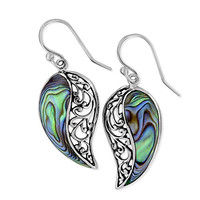 Sterling Silver Abalone Shell Paisley Filigree Dangle Earrings