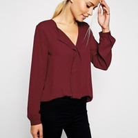 ASOS Long Sleeve Deep V Neck Bouse