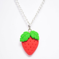 Cute Strawberry Pendant Necklace - Kawaii Polymer Clay Necklace