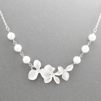 Triple, Orchid, White, Pearl, Flower, Gold, Silver, Necklace, Wedding, Bridesmaid, Engagement, Party, Gift, Jewelry