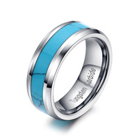 Hard Metal Turquoise Ring Wedding Engagement Bands Ring For Mens