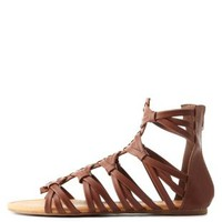 Cognac Knotted Crisscross Caged Gladiator Sandals by Charlotte Russe