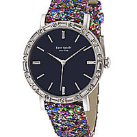 Kate Spade New York - Metro Grand Pavé Stainless Steel & Interchangeable Glitter Leather Strap Watch - Saks Fifth Avenue Mobile