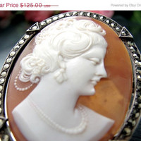 SALE Vintage CARVED CAMEO Pin Sardonyx Shell 900 Silver Marcasites Brooch