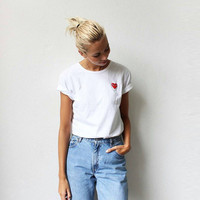 2016 New FEMALE SUMMER DRESS Round Neck T-Shirt 100% Cotton COMME DES GARCONS CDG Play T Shirt Female Tops Gold Heart Tees S-XXL