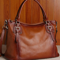 Women's Brown Real Leather Purse Genuine Leather Handbag Shoulder Bag Hobo Tote Purse Cowhide Bag  B152