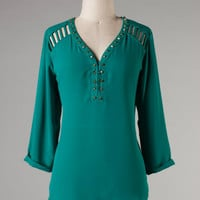 Studded Diva Top -- Teal