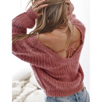 AVODOVAMA M Autumn Sweaters Women Fashion Sexy Backless V Neck Pullovers Casual Loose Solid Long Sleeve Female Knitted Tops