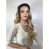 Light honey blond curly lace front wig 22'