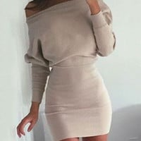 Khaki Oblique One Shoulder Long Sleeve Mini Bodycon Dress