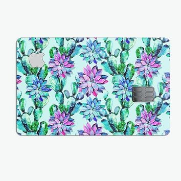 Watercolor Cactus Succulent Bloom V14 - Premium Protective Decal Skin-Kit for the Apple Credit Card