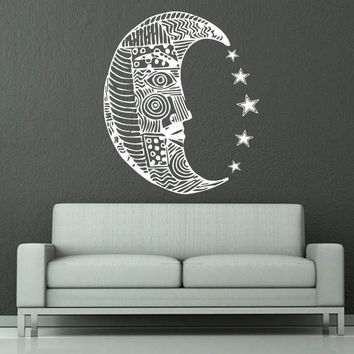 Wall Decal Moon Vinyl Sticker Decals Art Home Decor Design Mural Sun Moon Crescent Ethnic Stars Night Symbol Sunshine Fashion Bedroom AN690
