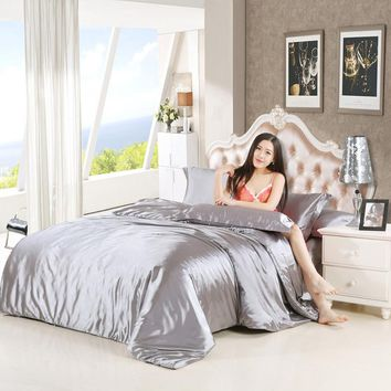 Silk Satin Bedding Set Solid Color Bed Linen Silver Grey Duvet Cover Set Soft Tencel Flat Sheet