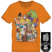 Nickelodeon Ren And Stimpy Rugrats Character T-Shirt Tee Shirt For Men Neon Orange