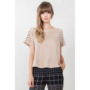 Faux Suede Cut Out Top