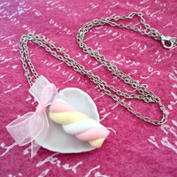 Necklace with Marshmallow pendant and pink organza bow - handmade of polymer clay