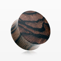 A Pair of Organic Arang Zebrawood Double Flared Ear Gauge Plug